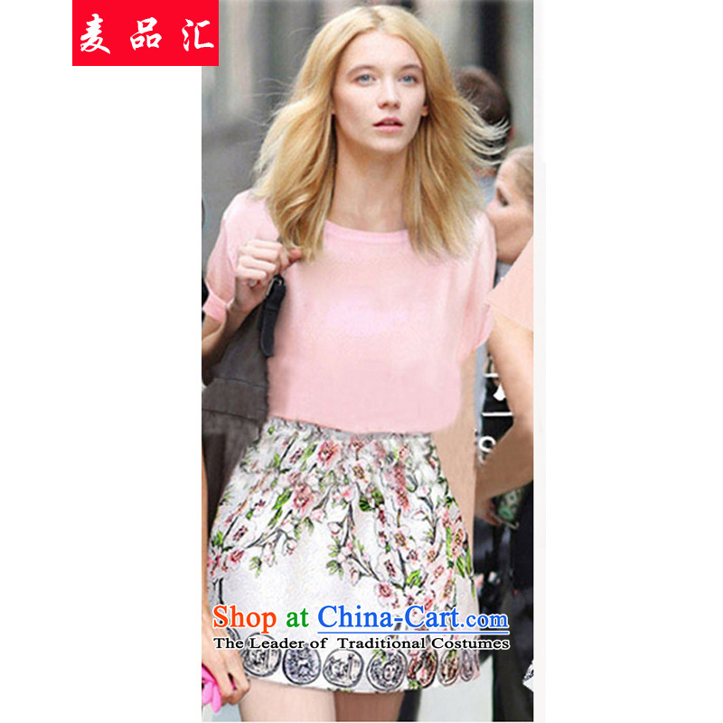 Mr Hui2015 new products to European and American women xl thick mm summer video thin T-shirt + upper body stamp short skirt kitpicture color3XL 89008