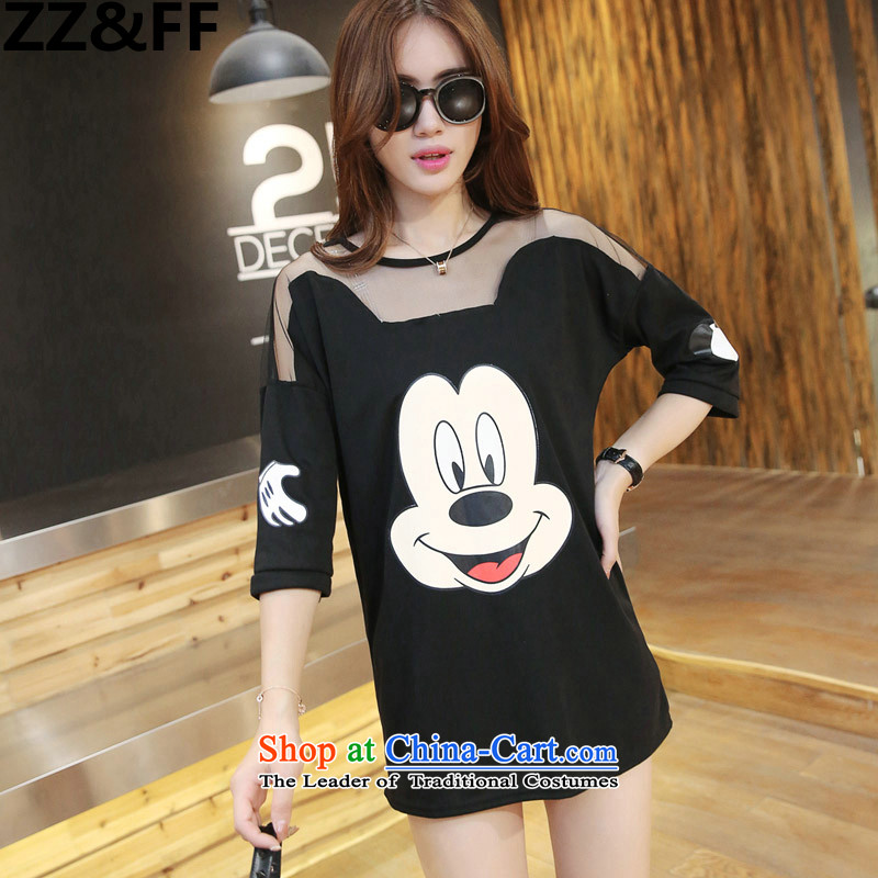 Install the latest Autumn 2015 Zz_ff_ larger female thick sister cartoon series spell skirt stamp 200 catties loose gauze shirt, forming the Netherlands proposal 165-200 XXXL_ black catties_