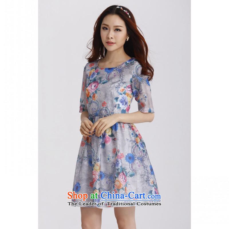 C.o.d. 2015 Summer new stylish casual temperament classic Korean large Fat MM Sau San fifth cuff OSCE root yarn stamp dress grayXL