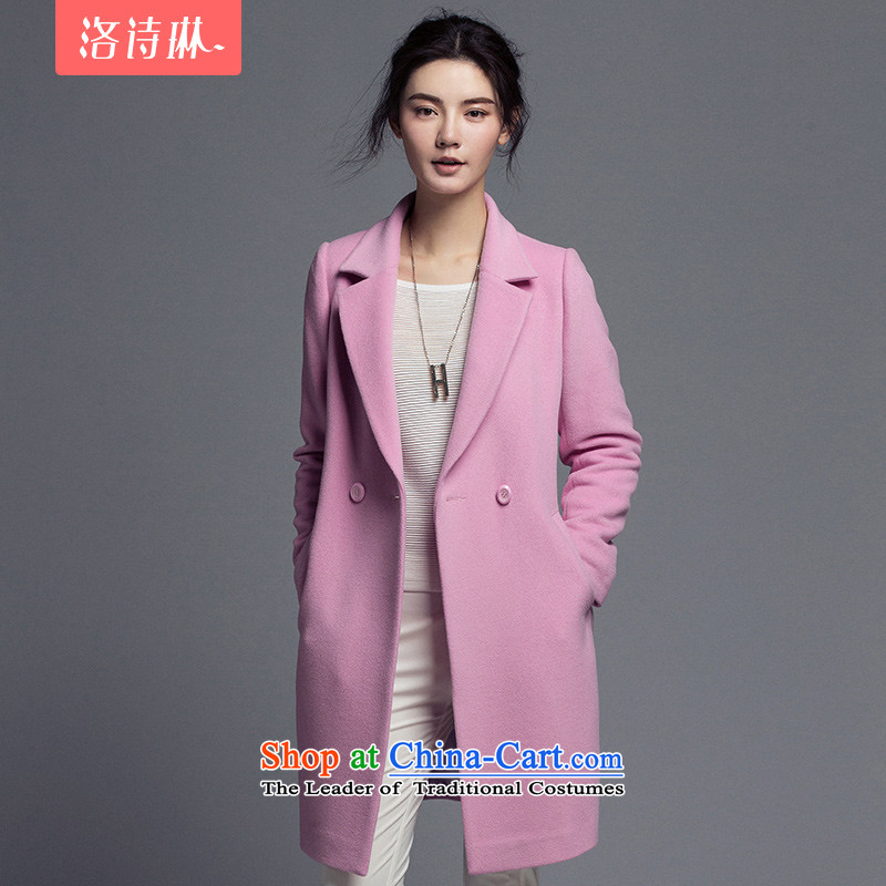 The poem Lin 2015 LUXLEAD winter clothing new products for reverse collar double row is long minimalist Korean jacket coat female gross? toner purple M