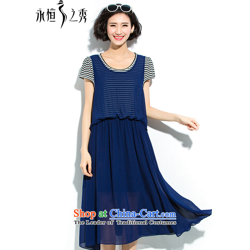 The Eternal-soo to xl women's dresses thick mm summer new products were relaxd thick sister thick Korean Version_ thin chiffon long skirt leave streaks of two dresses?3XL blue