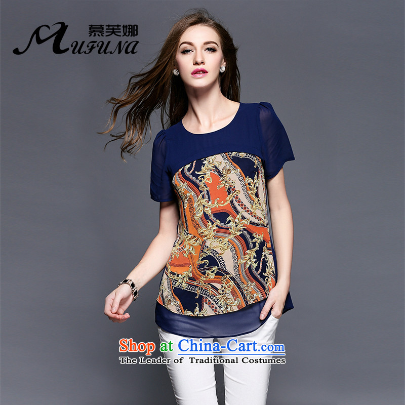 The Improving access by 2015 Women's large summer new stylish classic stamp video nets thin loose large short-sleeved T-shirt 3403 Blue XXL