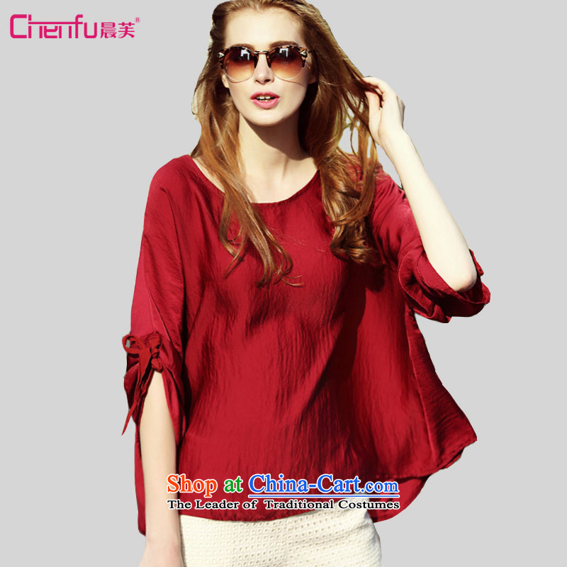 2015 summer morning to the new Europe and the sister of Chinese loose thick red bat sleeves trendy clothes to code xl female wild T-shirt red 4XL( suitable for coal) 150 - 160131