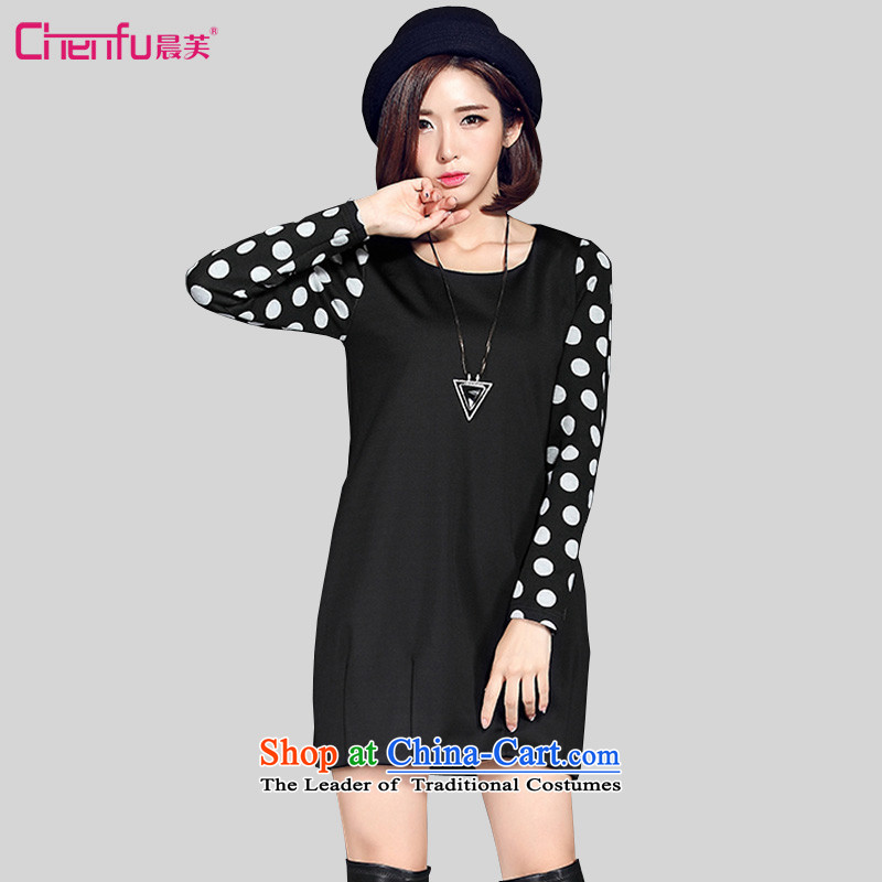 Morning to 2015 autumn and winter new large long-sleeved blouses and dresses and stylish wild wave point stitching of the lint-free thick light hovering over the skirt blackLrecommendations 110-120 catty