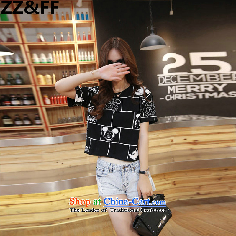 Large 2015 Zz_ff Women 200 catties a new summer TEE cartoon stamp thick MM extra T-shirt female black casual聽XXL_ recommendations 135-165 catties_