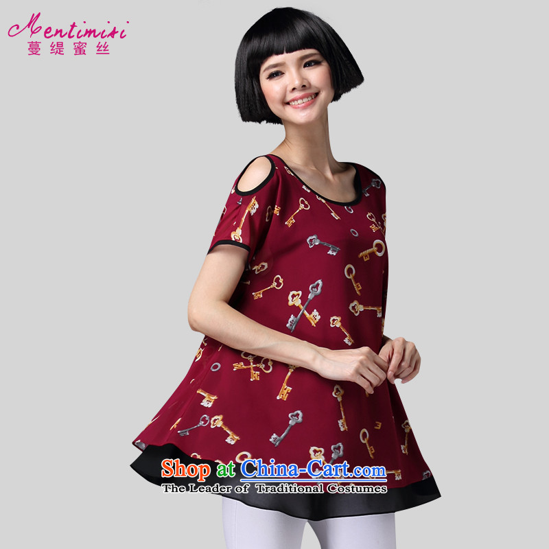 Overgrown Tomb economy honey population 200 catties larger women's Summer 2015 new to increase expertise sister video thin stamp chiffon T-shirt1371big red code 3XL around 922.747 160