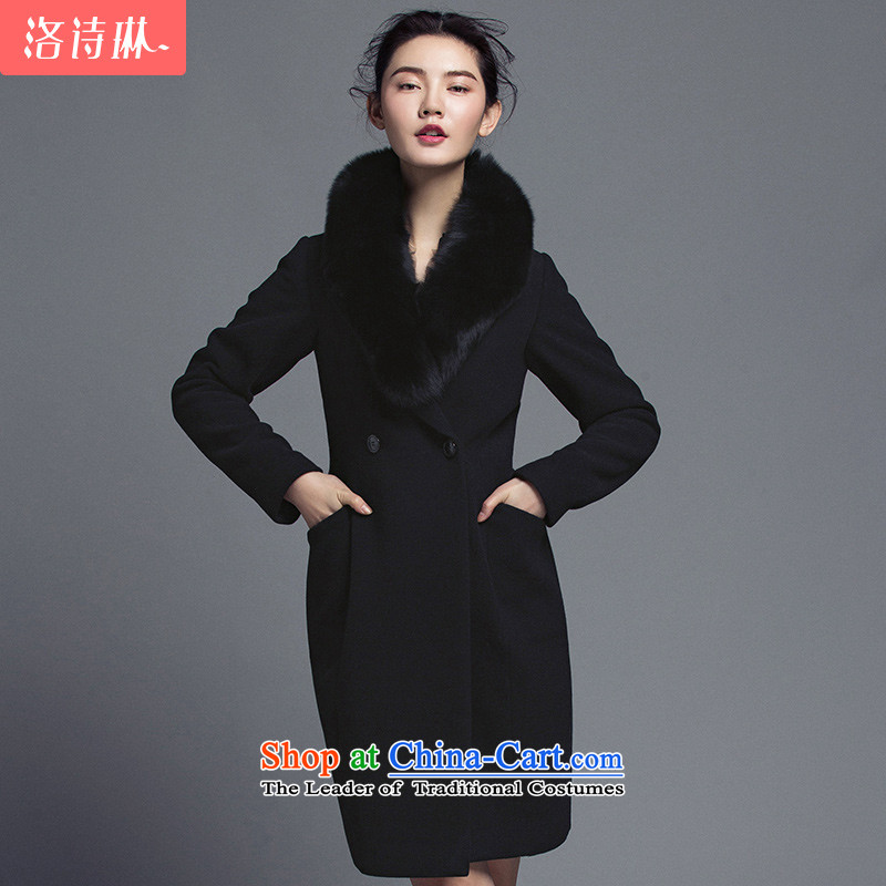 The poem Lin�15 LUXLEAD winter clothes for long-sleeved Fox Maomao, double-H type in the long hair black燲L elegant cloak?