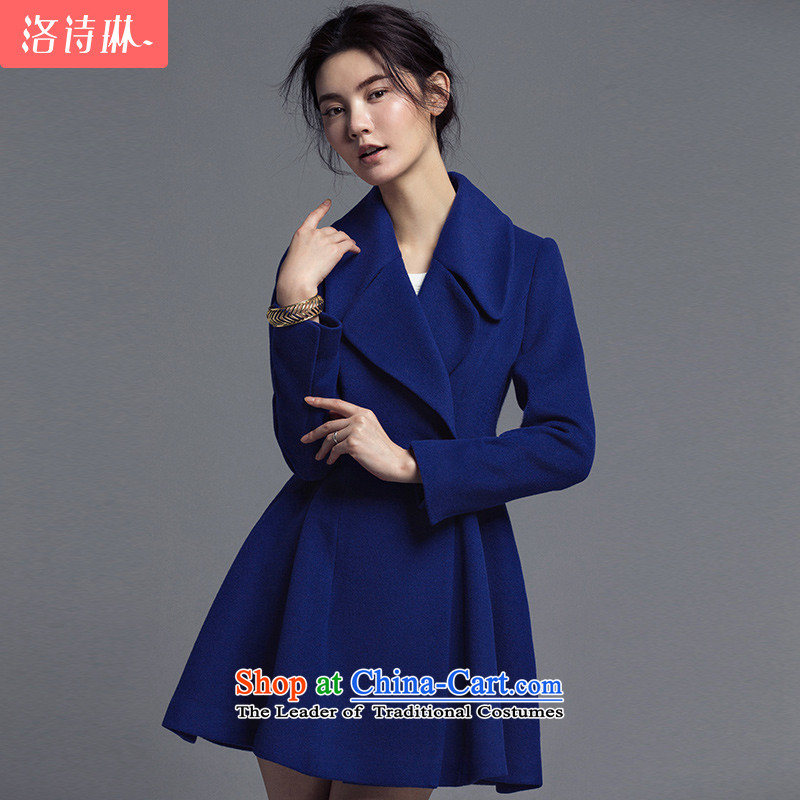 The poem Lin�15 LUXLEAD autumn and winter new flat connection for long-sleeved double-A swing twill Shun Maomao? Blue Coat Female D燣