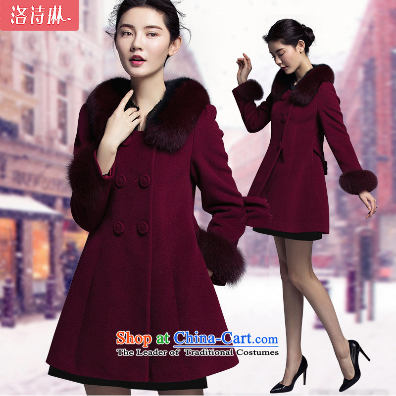 The poem Lin 2015 LUXLEAD autumn and winter new fox gross for long-sleeved type A in the long coats of lint? female wine red S