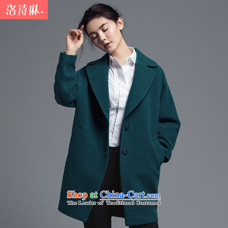 The poem Lin2015 LUXLEAD autumn and winter new Lok shoulder long-sleeved cocoon-won long version of the fleece coats female dark greenL?