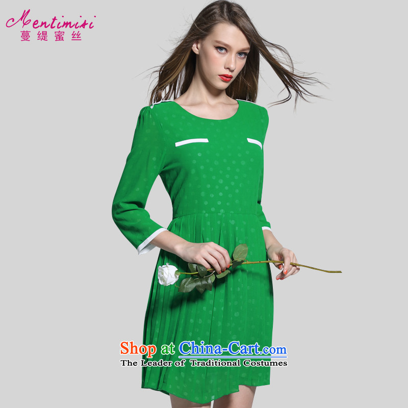 Overgrown Tomb economy honey population 200 catties to increase women's code thick mm summer stylish graphics 9 thin cuff dresses2669Green large L