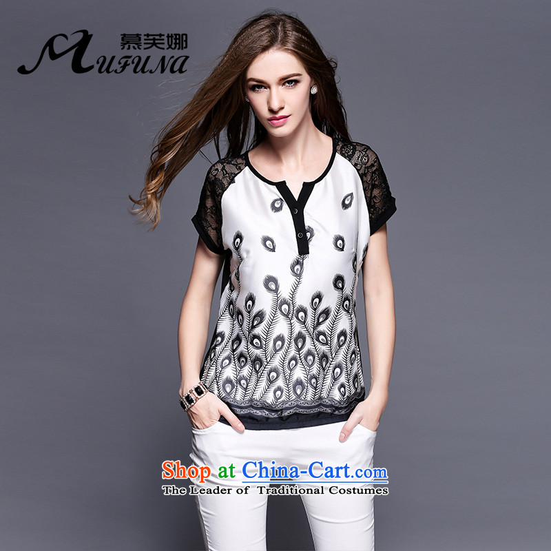 Improving access of 2015 Summer new larger female lace V-neck strain peacock tail stamp classic thin coat 3409 Graphics Black XXL