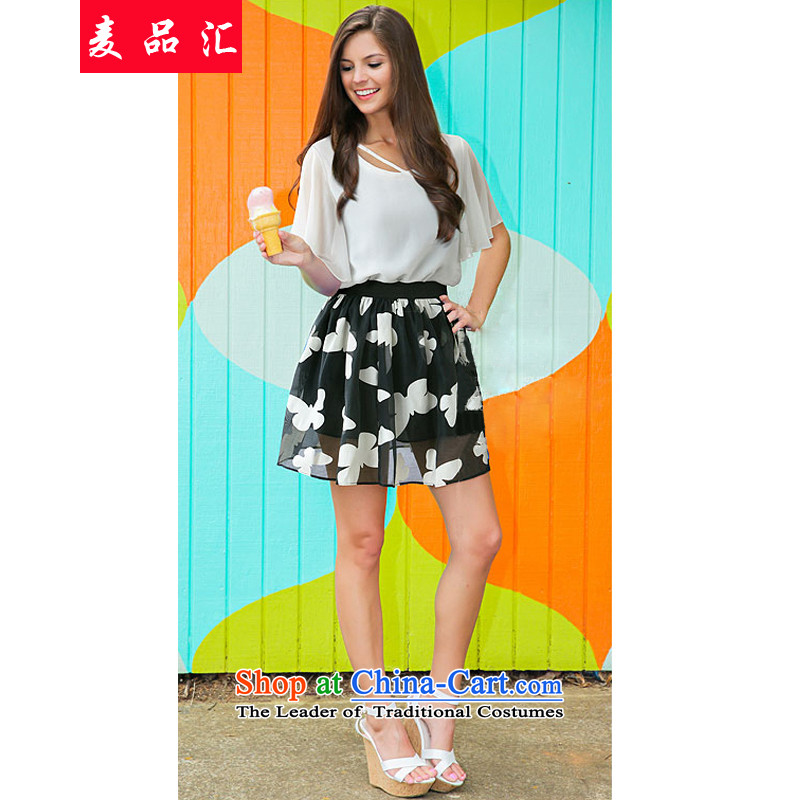Mr Hui聽2015 summer products new Korean women xl thick sister Kit Video thin chiffon shirt + euro root yarn stamp short skirt two kits聽5 169聽white shirt + short skirts聽5XL Suit