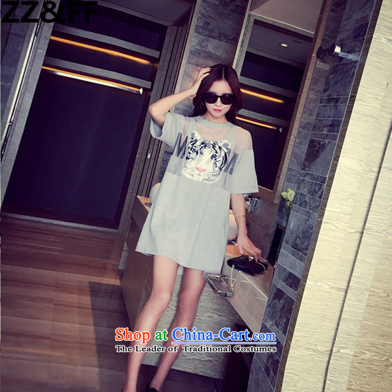 The new summer 2015 Zz_ff larger female 200 catties thick MM two kits dresses light gray聽XXXXXL_ recommendations 180-200 catties_