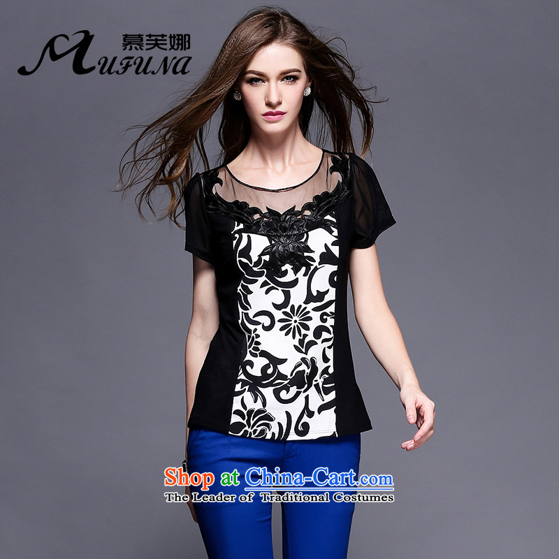 Improving access of 2015 Summer new larger female graphics, Sepia atmospheric Stamp Duty Thin pop classics thin T-shirts, Sau San video 3413th Black XL