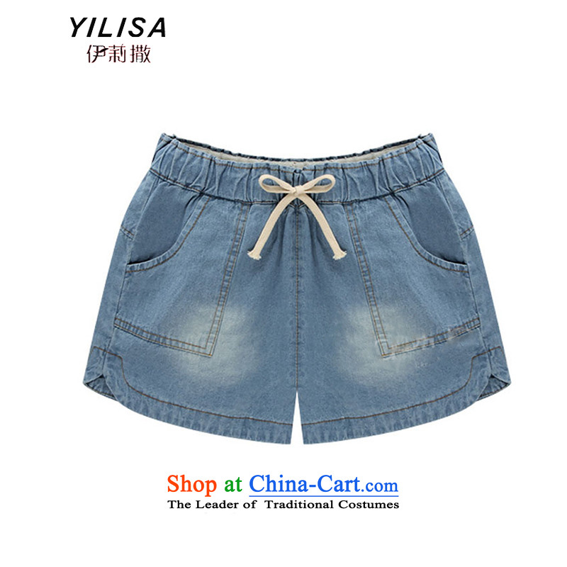 The new European sites YILISA2015 XL Women's Summer jeans thick MM summer relaxd hot pants H6118 king jeans3XL light blue