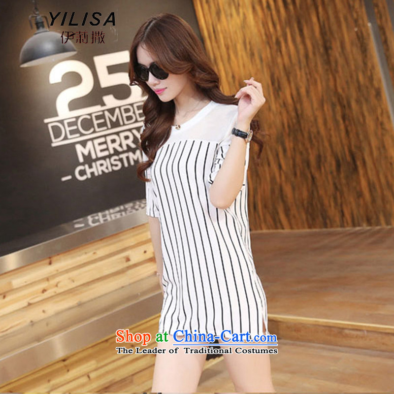 Ms. King sub-code Women's Summer streaks dresses 200 catties thick MM summer streaks stitching flow loose in long Su Dress Shirt H51613XL White