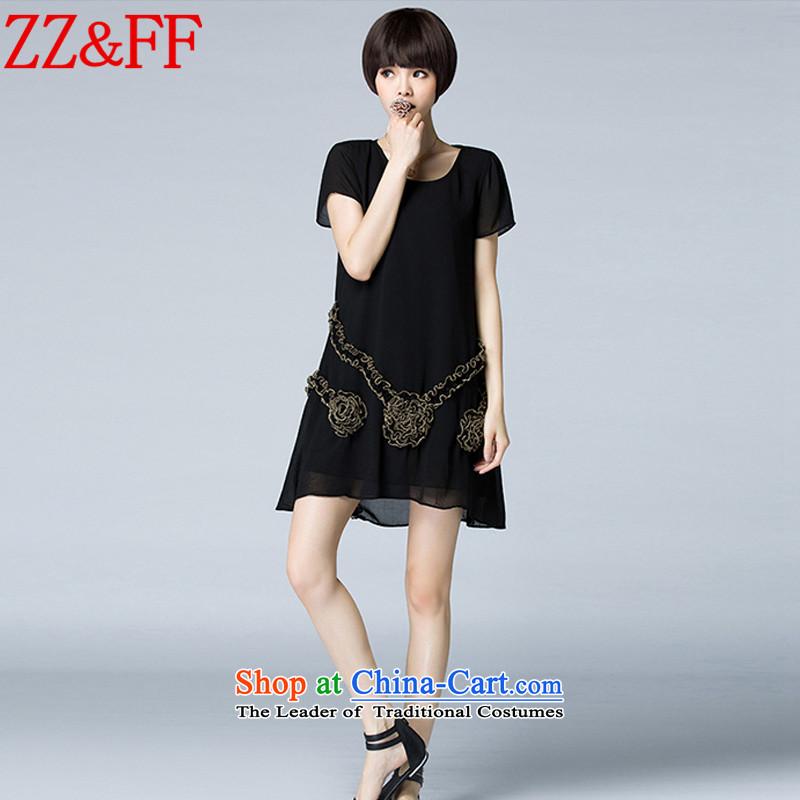 2015 Summer Zz_ff new larger female stamp chiffon relaxd dress聽LYQ5326 female聽black聽XXL