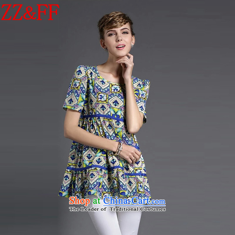 2015 Summer Zz&ff new larger female decorated seen wearing short-sleeved stamp saika chiffon shirt female XFS8638  XXXXL map color