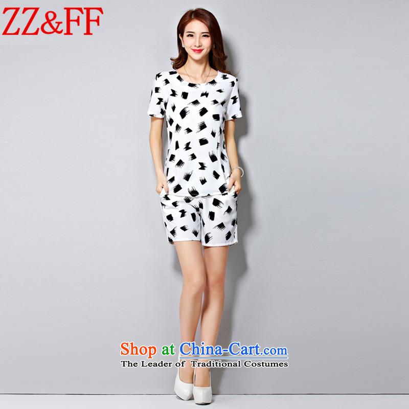 2015 Summer Zz_ff large new women's sports services chiffon Netherlands shirt plus shorts thick sister graphics package femaleTZ8061 thinWhiteXL