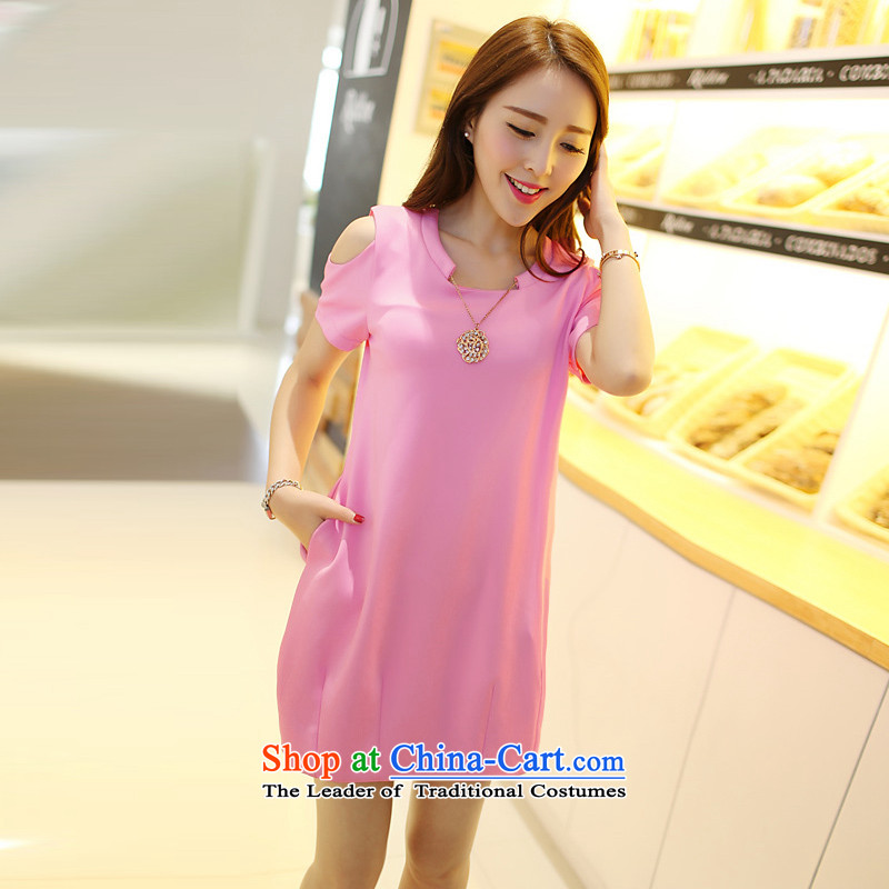Billionby 2015 mm gymnastics thick summer to increase women's code Korean New Graphics thin Sau San Fat sister pink dressesXL