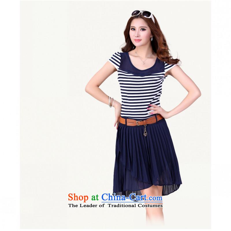 C.o.d. 2015 Summer new stylish casual temperament classic Korean large Fat MM video thin knitting chiffon spell back to dress belt blueXXL