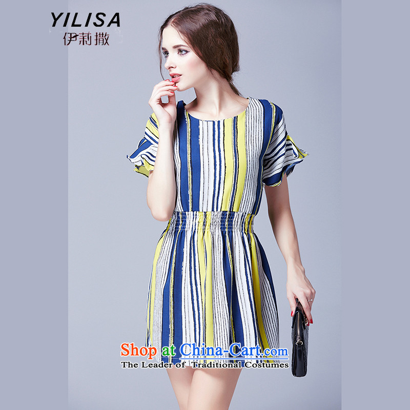 Ms 2015 New Europe sub-200 mm thick summer catty dresses to xl female Foutune of video thin chiffon streaks dresses K248 picture colorXXL