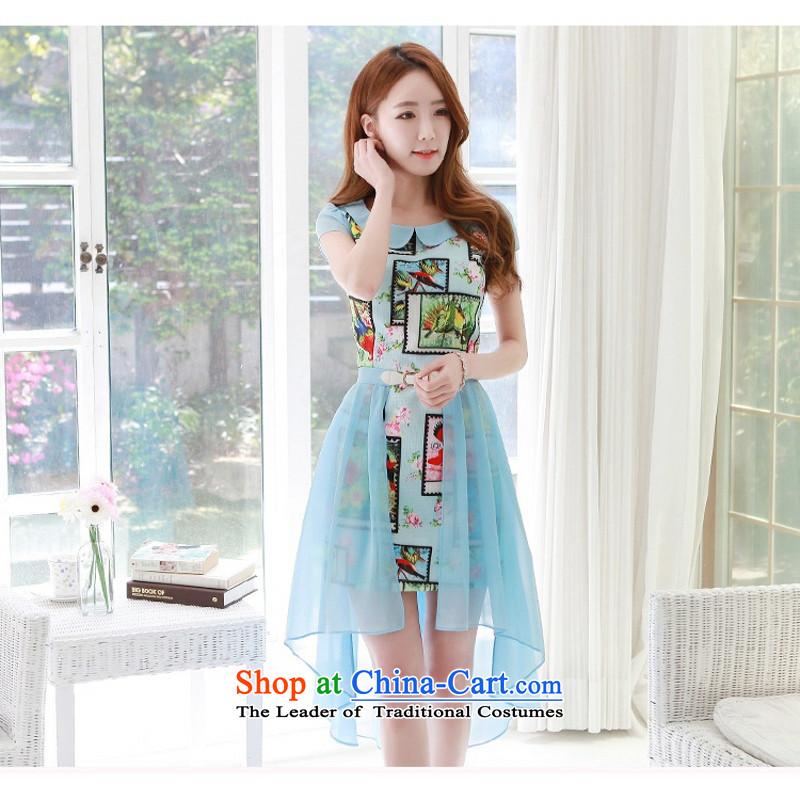 C.o.d. larger thick MM2015 Korean new stylish flower stamps are both through direct skirt Fashion Sense of irregular petticoats chiffon gliding dresses blueXL