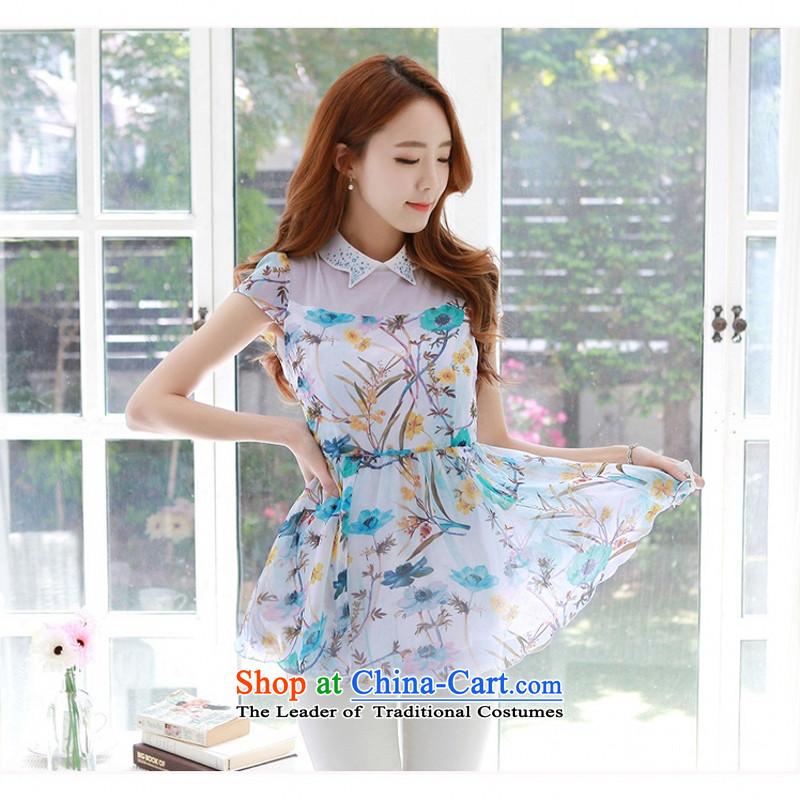 C.o.d. 2015 Summer new Korean large stylish thick MM Sau San 3D digital inkjet printing chiffon graphics skinny shirt wild blue T-shirt聽XL