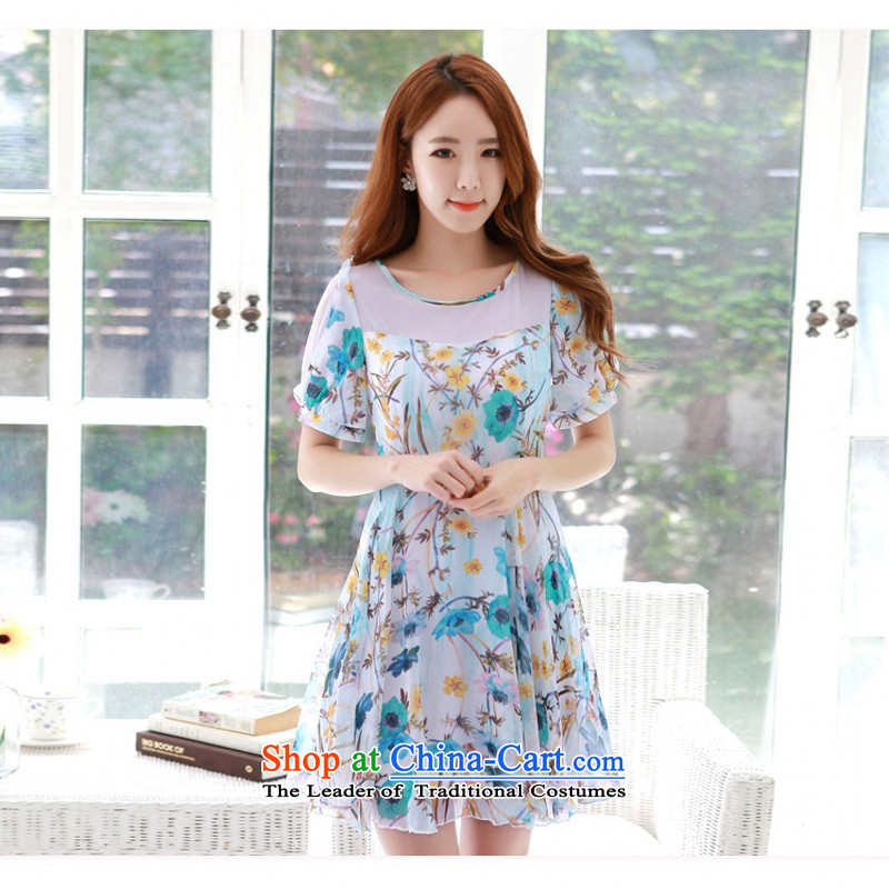 C.o.d. 2015 Summer new Korean fashion yarn material for larger thick MM chiffon stamp Sau San video thin A swing dresses Blue燤