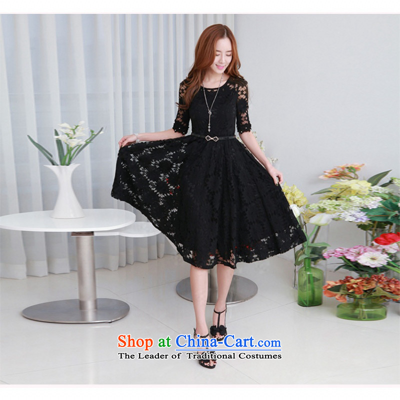 C.o.d. 2015 Summer new stylish large temperament thick MM 3-piece set Korean fashion irrepressible lace temperament. Long Sau San dresses blackL