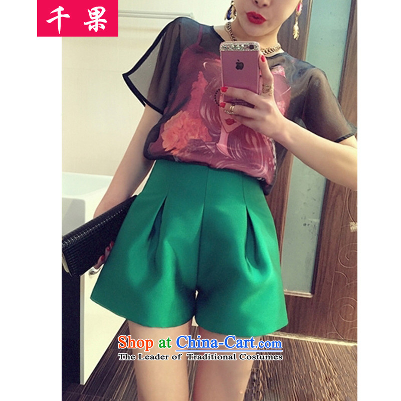 Thousands of fruit thick mm summer 2015 to increase the number of female Mount Kit T-shirts loose short-sleeved vest + + xlarge shorts video thin 3-piece set爌icture color�L 244