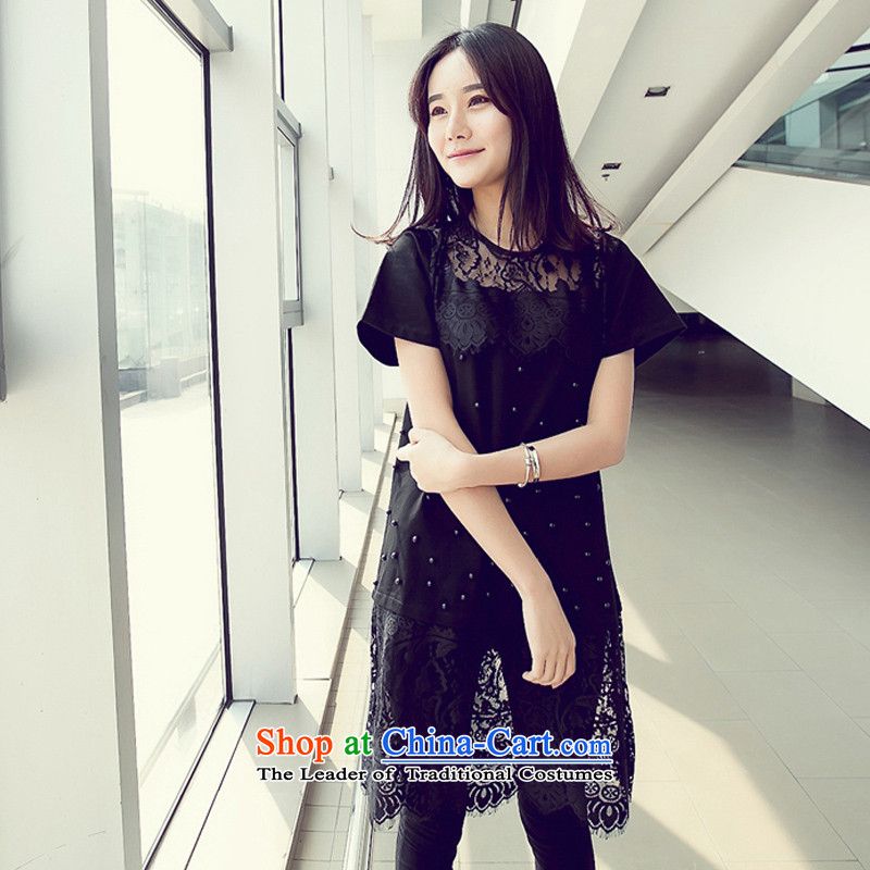 Billionby 2015 summer create new fat mm to xl female engraving nail pearl lace under the Korean version of the long skirt blackXXL