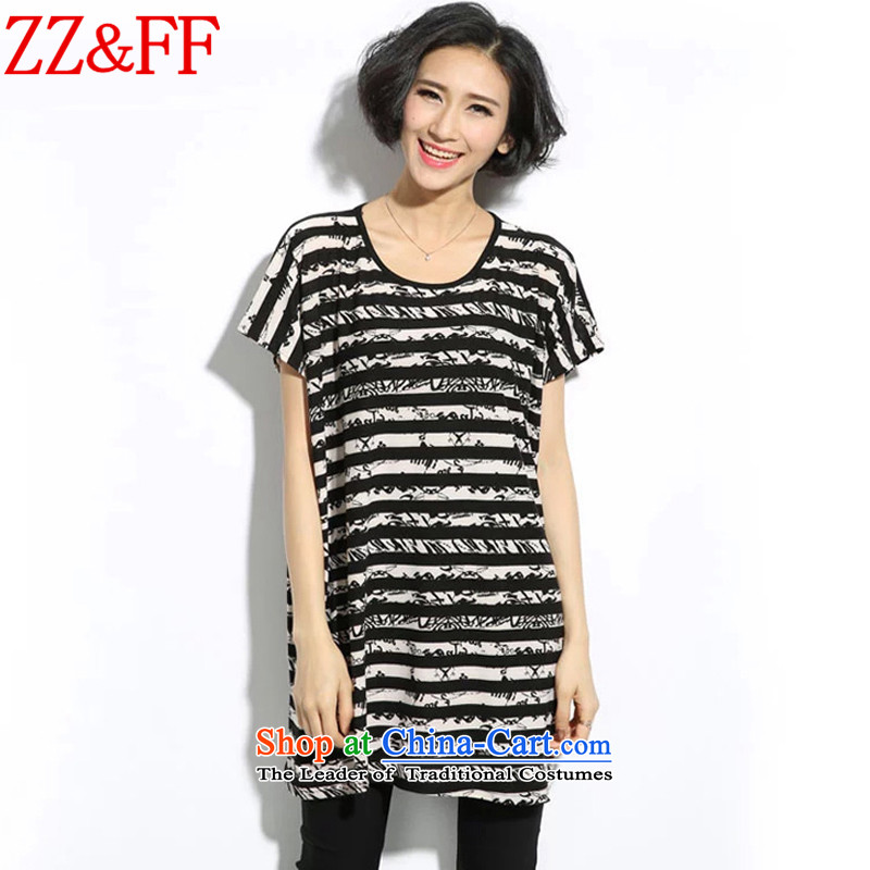 2015 Summer Zz_ff new large decorated as streaks female short-sleeved T-shirt燚X8064 female燽lack燲XL