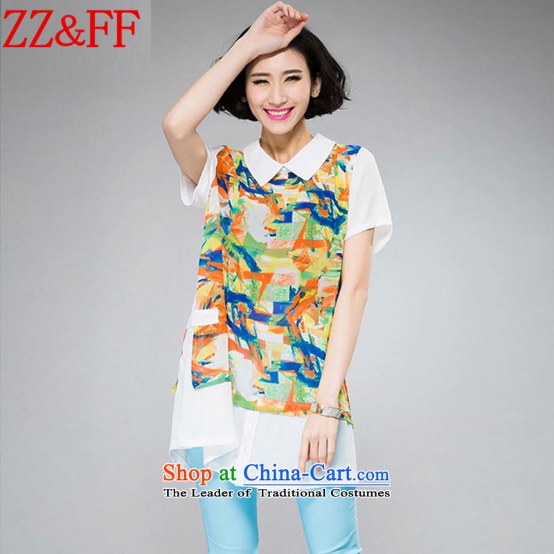 2015 Summer Zz_ff new larger women in long chiffon Netherlands shirt Sau San femaleXFS8066XXXXL orange