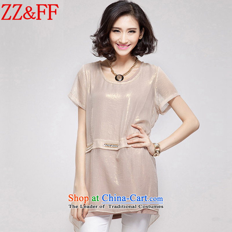 2015 Summer Zz_ff large new women's expertise in MM long loose leave two chiffon shirt femaleXFS8058apricotXL