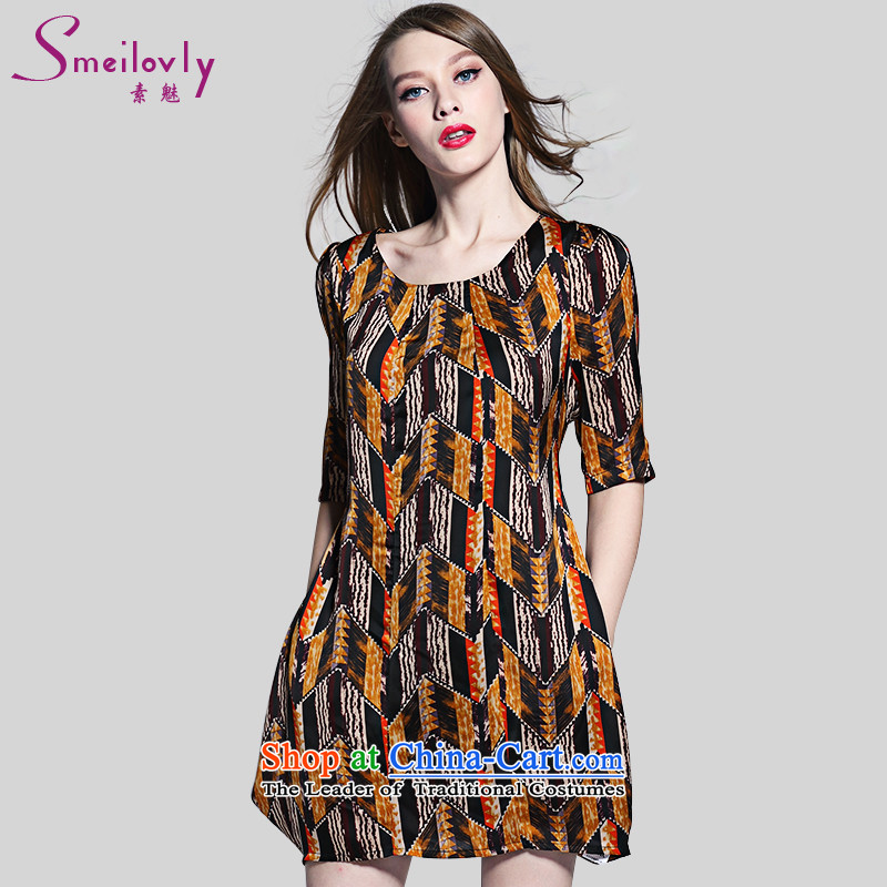 The Director of the Europe and the large number of ladies to intensify the summer new stylish stamp graphics thin short-sleeved chiffon dresses 2017Large Yellow XXL around 922.747 140