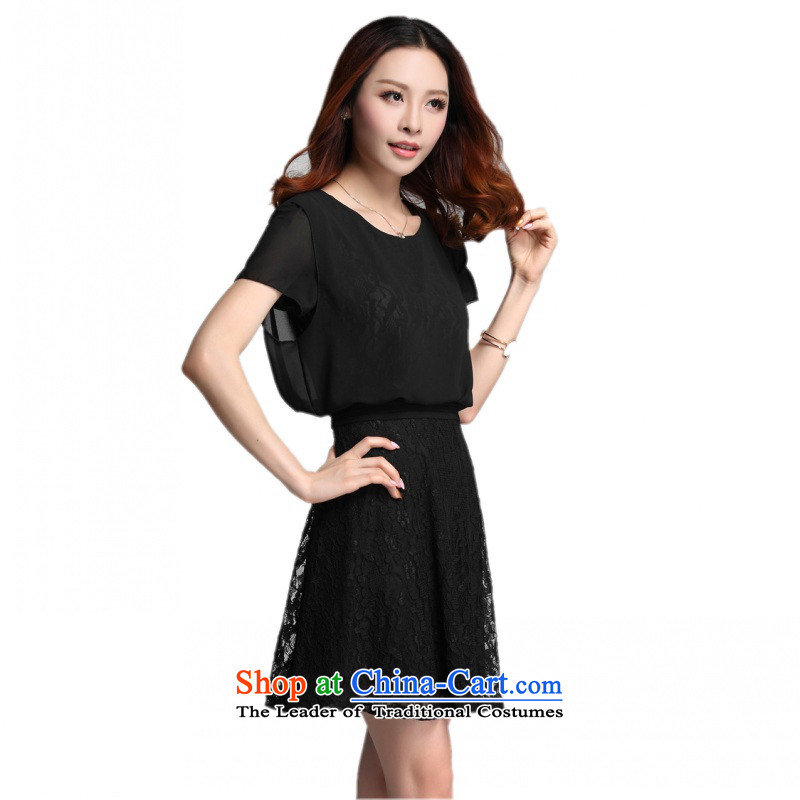 C.o.d. 2015 Summer new stylish classic Korean leisure temperament xl thick MM Sau San lace leave two chiffon short-sleeved black燲XXL dresses