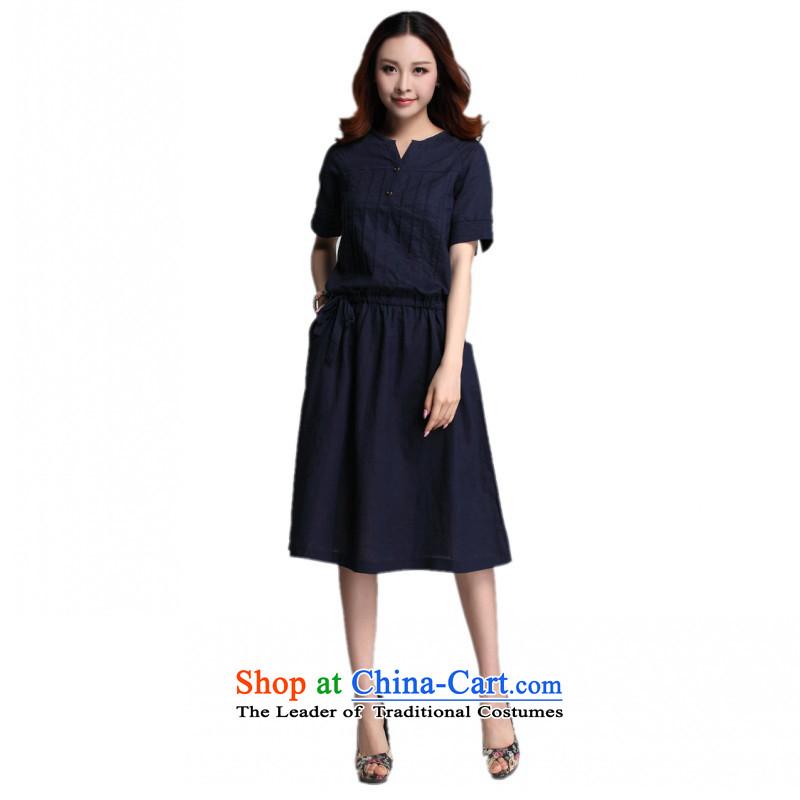 C.o.d. 2015 Summer new stylish classic Korean leisure temperament xl loose cotton stitching of ethnic Sau San short-sleeved blueXXXL dresses