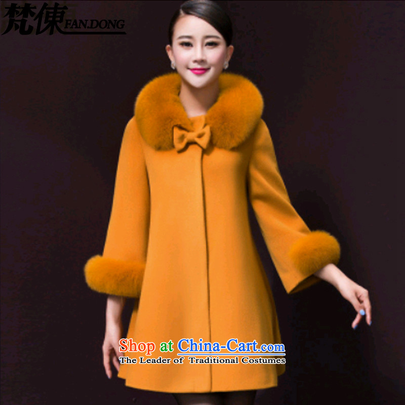 Van Gogh ? to xl dress jacket coat 2015 gross? Fall_Winter Collections of new products in the Korean elderly mother boxed? coats windbreaker women�28牋3XL maize yellow