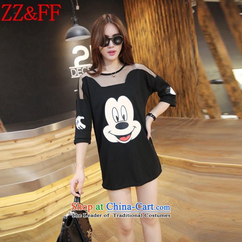 2015 Summer Zz_ff new larger female loose gauze stitching short-sleeved T-shirt聽DX5167 female聽black聽XXXL