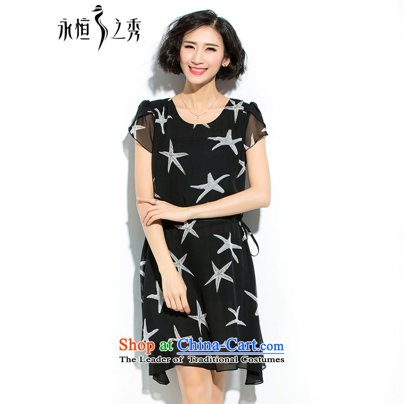 The Eternal-soo to xl women's dresses thick mm2015 summer new products were relaxd thick sister thick chiffon video thin, dresses chiffon dresses black聽2XL