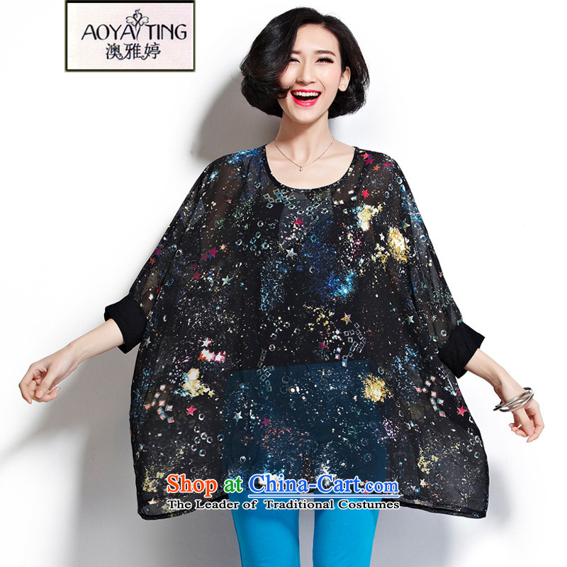O Ya-ting 2015 new to xl female summer thick mm video thin fluoroscopy star chiffon sunscreen shirt blue oversized will recommend that you 150-350 catty