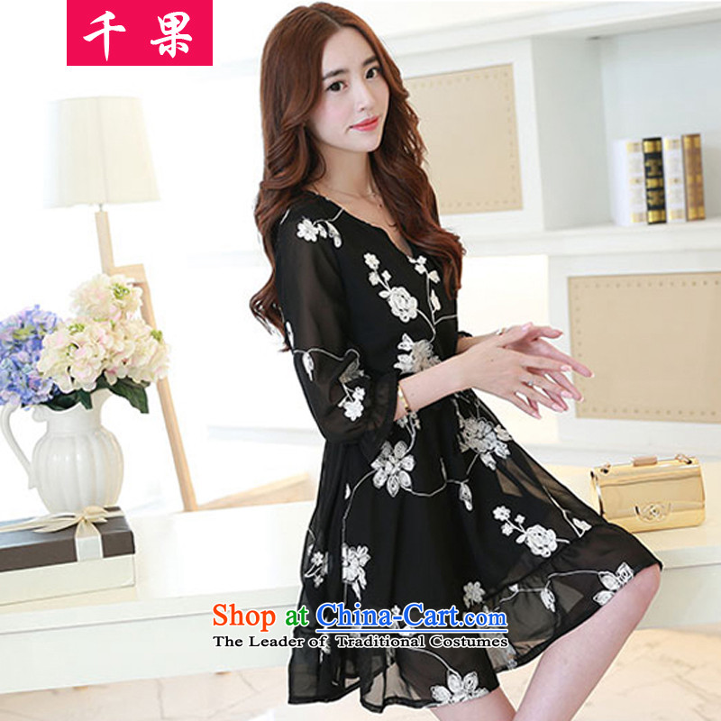 Thousands of large code women 2015 Summer new expertise to increase the elastic sister Foutune of loose video thin Lace Embroidery skirt A Skirt5,168Black4XL