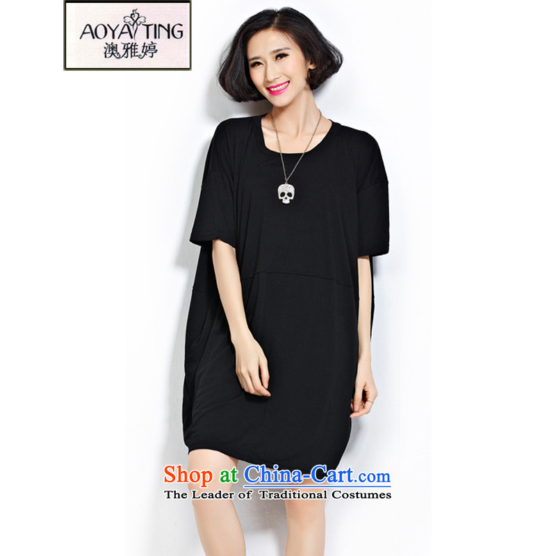 O Ya-ting2015 new to increase the number of women's summer thick female loose video thin leisure stitching t-shirts are black Code recommends that you 100-240 catty