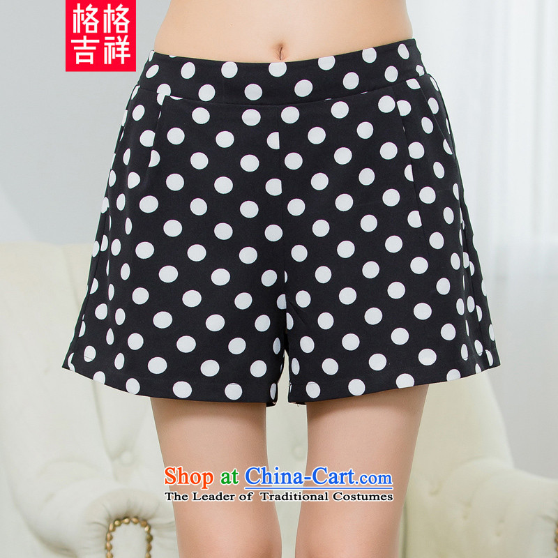 The interpolator auspicious聽2015 to increase the number of women with new summer thick mm thin waves point of Sau San video stamp elastic waist casual WOMEN'S SHORTS X5526 Black聽XL