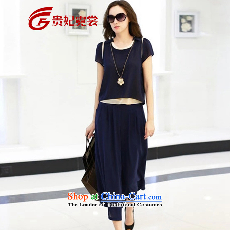 Gwi Tysan thick sister 2015 large female new summer_ thick mm200 catty xl chiffon shirt and trousers skirts widened relaxd two kits 1943 Blue large XL