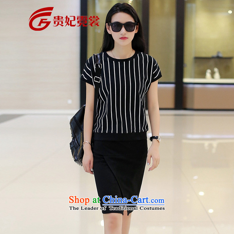 Queen sleeper sofa Tysan 2015 extra ladies casual kit xl summer new fat mm stripe T-shirt with round collar of the forklift truck body skirt Kit 1973 Black Large 3XL code