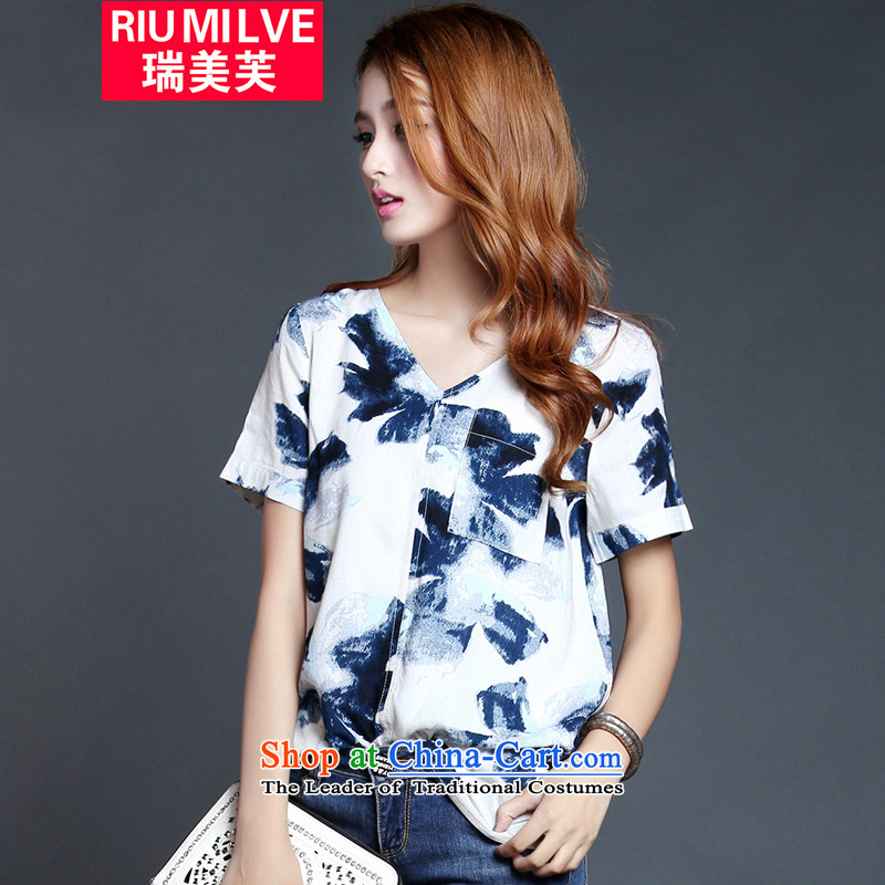 Rui Mei to 2015 to increase the number of women with new summer thick mm loose video thin ink stamp short-sleeved T-shirt V-neck shirt Y1235 cotton linen suit L