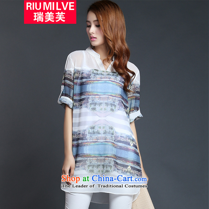 Rui Mei to�15 to increase the number of women with new summer thick mm video thin 3D stamp chiffon shirt-T-shirts, casual women blue short-sleeve_ 1234 5XL